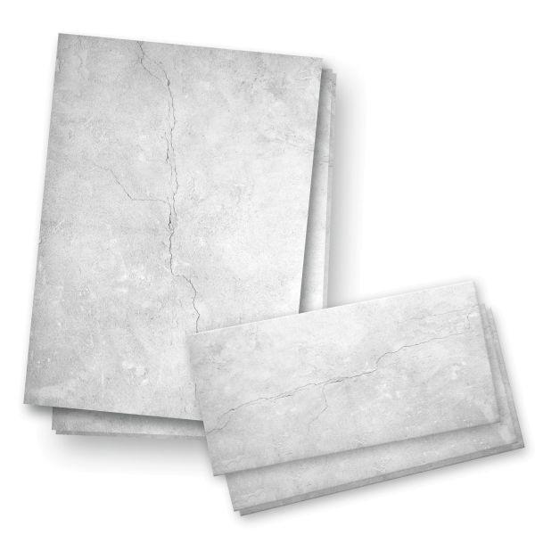 Briefpapier-Set   Grau   25x DIN A4 Briefpapier mit passenden Umschlägen
