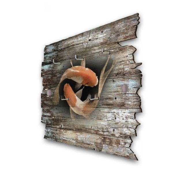 Koi Karpfen Paar Schlüsselbrett mit 5 Haken im Shabby Style aus Holz