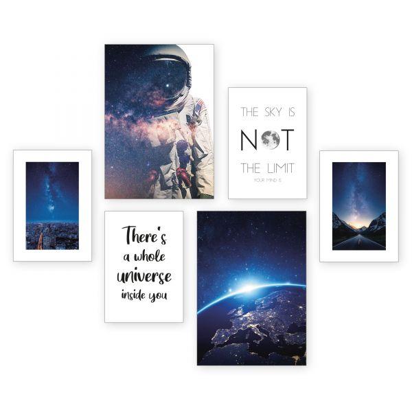 """""""Astronaut"""" 6-teiliges Poster-Set - optional mit Rahmen - 2 x DIN A3 & 4 x DIN A4"""