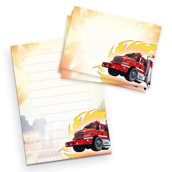 Briefpapier-Set für Kinder   Feuerwehr   DIN A5 Briefpapier-Block 50 Blatt mit 20 Umschlägen