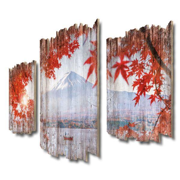 Berg Fuji Shabby chic 3-Teiler Wandbild aus Massiv-Holz