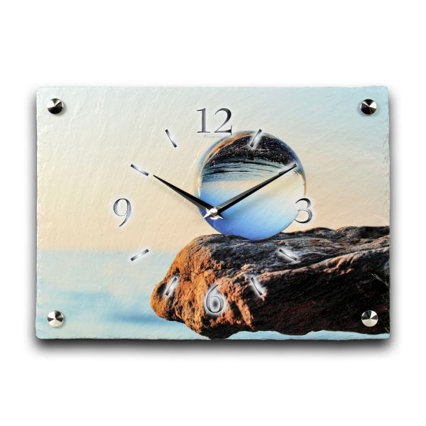 Glaskugel Designer Funk-Wanduhr aus echtem Naturschiefer mit leisem Funk- oder Quarzuhrwerk
