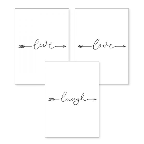 3-teiliges Poster-Set | Arrows | optional mit Rahmen | DIN A4 oder A3