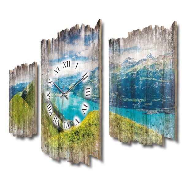 Panorama Brienzersee Schweiz Shabby chic Dreiteilige Wanduhr aus MDF mit leisem Funk- oder Quarzuhrw