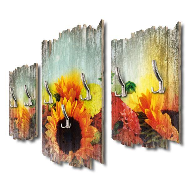 Dahlien & Sonnenblumen Shabby chic 3-Teiler Garderobe aus MDF