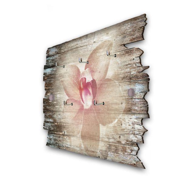 Orchidee Schlüsselbrett mit 5 Haken im Shabby Style aus Holz