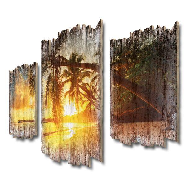 Urlaubsstrand Shabby chic 3-Teiler Wandbild aus Massiv-Holz