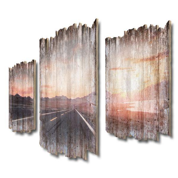 Straße in die Ferne Shabby chic 3-Teiler Wandbild aus Massiv-Holz