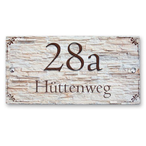 """Hausnummerschild """"Schlichte Ornamente"""" aus Naturschiefer"""