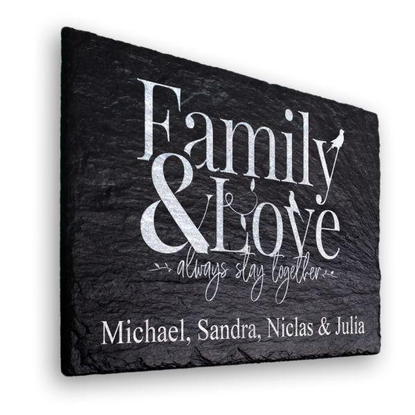 Family & Love Deko-Schild aus echtem Schiefer mit Ihrem Wunschtext