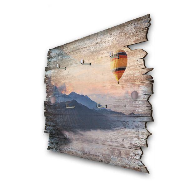 Ballonfahrt über Berge Schlüsselbrett mit 5 Haken im Shabby Style aus Holz