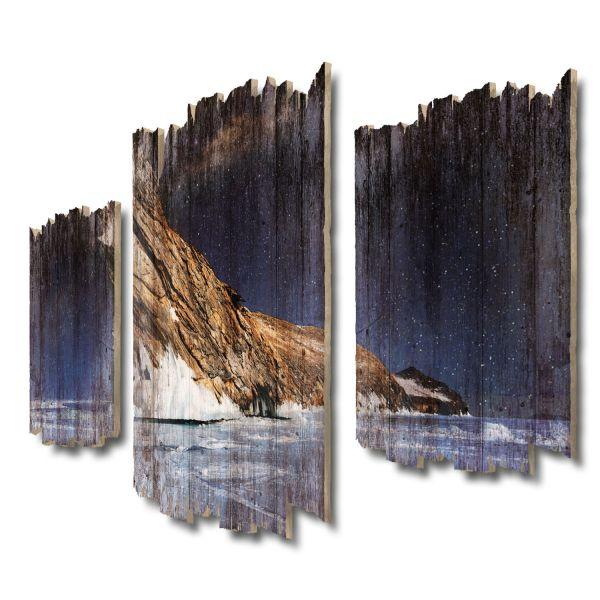 Felsen im Eis Shabby chic 3-Teiler Wandbild aus Massiv-Holz