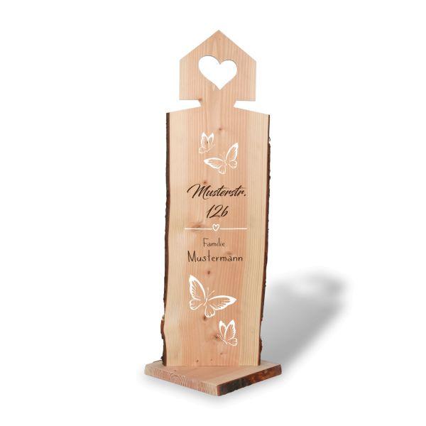 Schmetterlinge | Holzstele personalisiert mit Ihrem Wunsch-Text | ideale Deko für Haustür oder Garte
