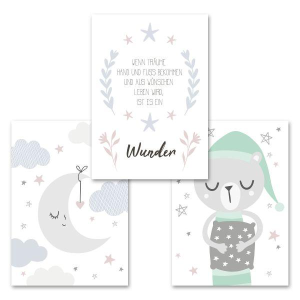 """""""Mond und Bär"""" 3-teiliges Poster-Set fürs Kinderzimmer im """"Norwegian Style"""""""