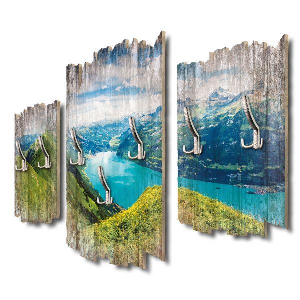Panorama Brienzersee Schweiz Shabby chic 3-Teiler Garderobe aus MDF