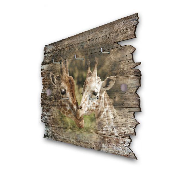 Giraffe Familie Schlüsselbrett mit 5 Haken im Shabby Style aus Holz
