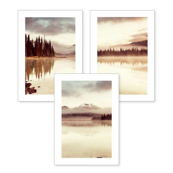 3-teiliges Poster-Set   Bergsee Morgengrauen   optional mit Rahmen   DIN A4 oder A3