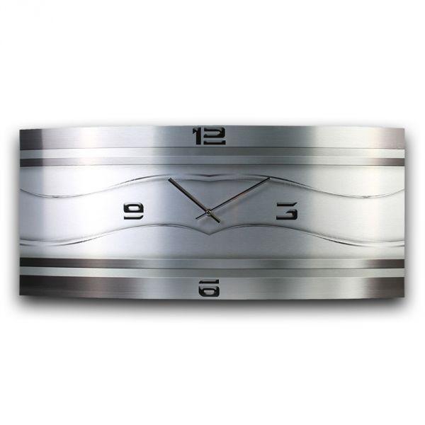 Wanduhr Silverline aus gebürstetem Aluminium mit leisem Funkuhrwerk 70x30cm