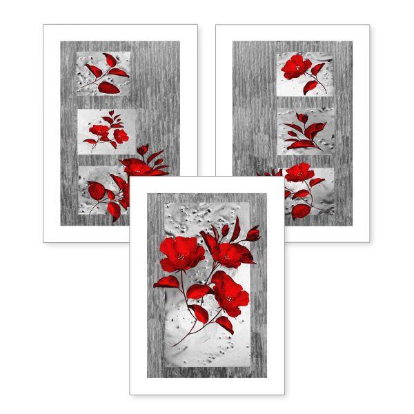 3-teiliges Poster-Set | Rote Blüten | optional mit Rahmen | DIN A4 oder A3