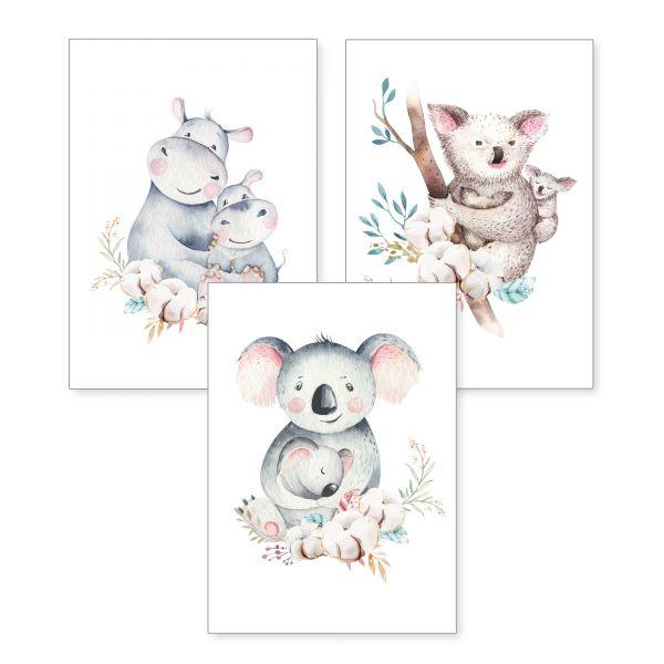 3-teiliges Poster-Set | Mamas | optional mit Rahmen | DIN A4 oder A3