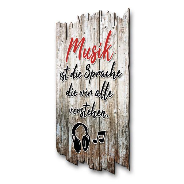 """Sprüche-Holzschild """"Musik"""""""