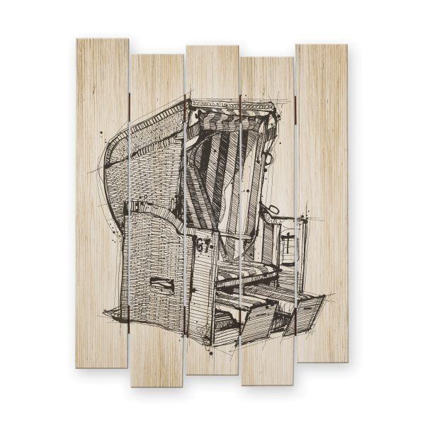 Strandkorb | Shabby chic Holzbild | ca.60x44cm