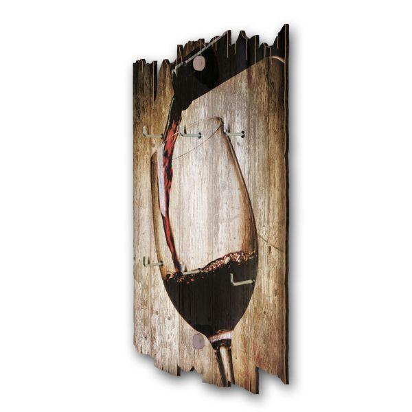 Rotwein Schlüsselbrett mit 6 Haken im Shabby Style aus Holz