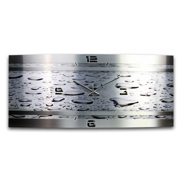 Wanduhr Wassertropfen Metallic aus gebürstetem Aluminium mit leisem Funkuhrwerk