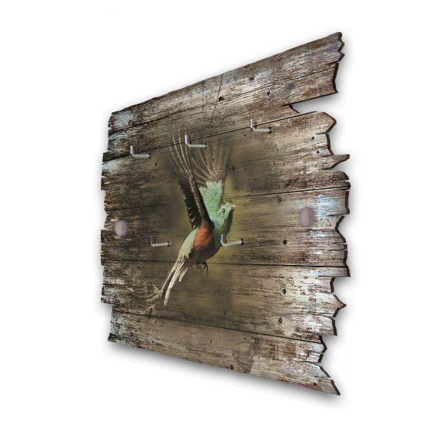 Exotischer Vogel Schlüsselbrett mit 5 Haken im Shabby Style aus Holz