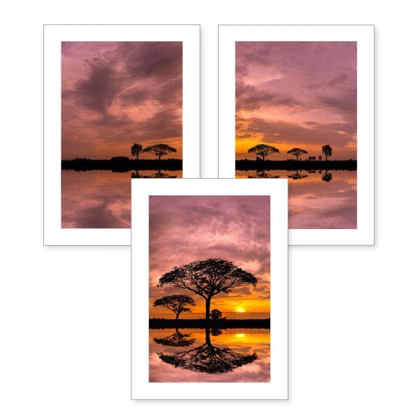3-teiliges Poster-Set | Afrika | optional mit Rahmen | DIN A4 oder A3