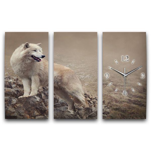 3 Teilige Wanduhr Wolf XXL aus Aluminium mit leisem Funkuhrwerk