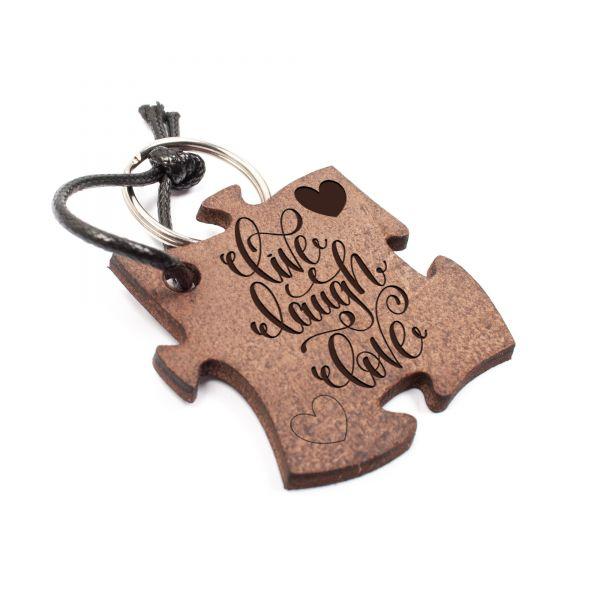 Schlüsselanhänger Puzzle aus Echtleder mit Gravur im Used Look | live laugh love