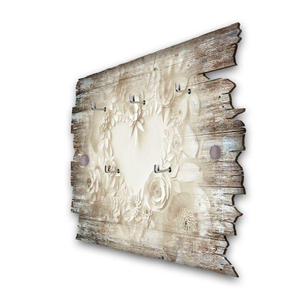 Papierherz Schlüsselbrett mit 5 Haken im Shabby Style aus Holz