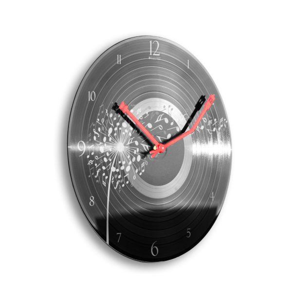 """Schallplattenuhr """"Music Dandelion"""" wahlw. mit leisem Funk- oder Quarzuhrwerk"""