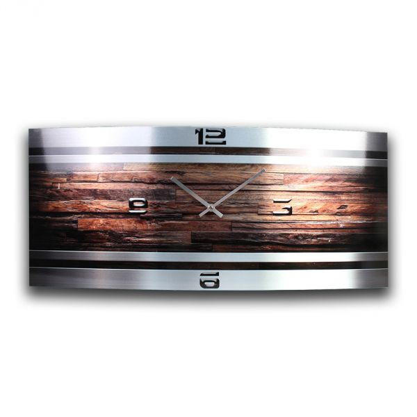 Wanduhr Holz Metallic aus gebürstetem Aluminium mit leisem Funkuhrwerk