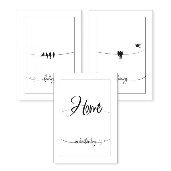 3-teiliges Poster-Set | Home | optional mit Rahmen | DIN A4 oder A3