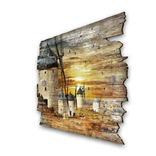 Windmühlen bei Sonnenuntergang Schlüsselbrett mit 5 Haken im Shabby Style aus Holz