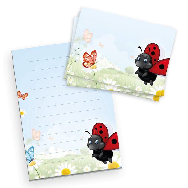 Briefpapier-Set für Kinder   Marienkäfer   DIN A5 Briefpapier-Block 50 Blatt mit 20 Umschlägen