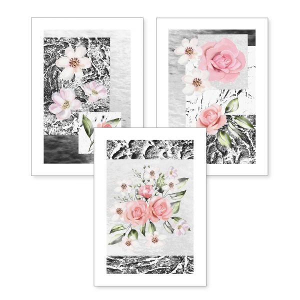 3-teiliges Poster-Set | Rosa Blüten | optional mit Rahmen | DIN A4 oder A3