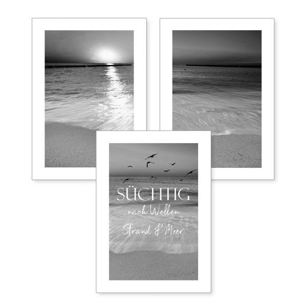 3-teiliges Poster-Set | Strand | optional mit Rahmen | DIN A4 oder A3