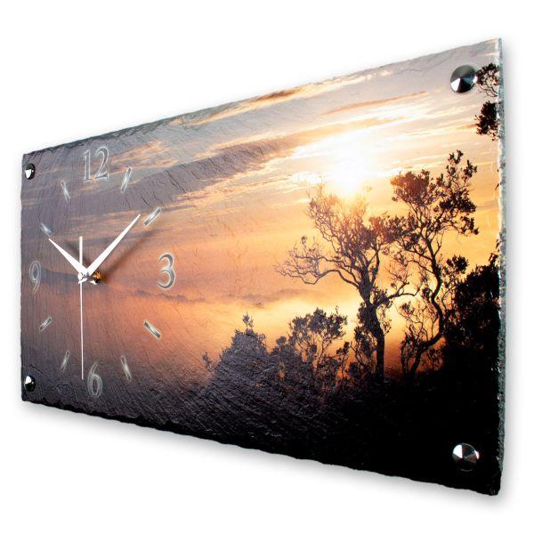 """Designer Wanduhr """"Sonnenaufgang"""" aus echtem Naturschiefer mit leisem Funk- oder Quarzuhrwerk"""