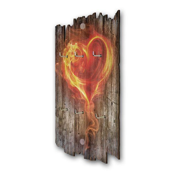 Flammendes Herz Schlüsselbrett mit 6 Haken im Shabby Style aus Holz