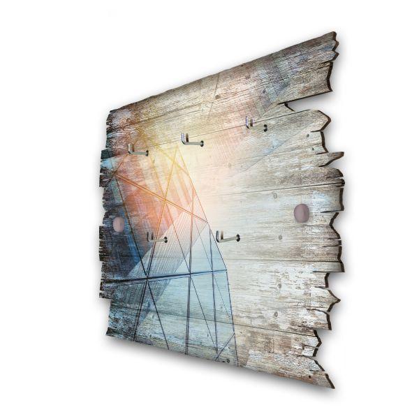 Glasfassade im Sonnenlicht Schlüsselbrett mit 5 Haken im Shabby Style aus Holz