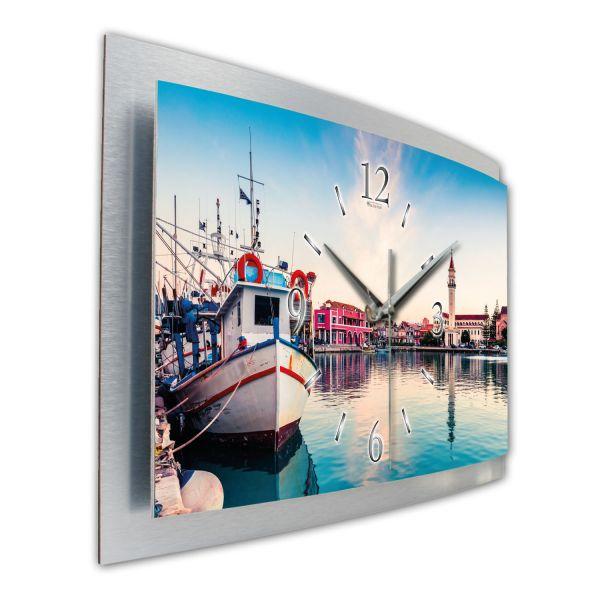 """3D Wanduhr """"Zakynthos Hafen"""" aus gebürstetem Aluminium mit leisem Funk- oder Quarzuhrwerk"""
