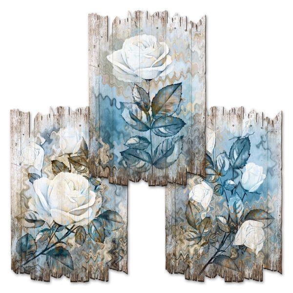 Weiße Rosen | Deko-Holzschilder im 3er Set | wahlw. in 30x20cm oder 30x45cm