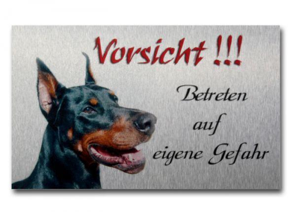 Hundewarnschild Dobermann aus gebürstetem Alu-Verbund