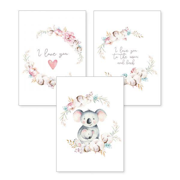 3-teiliges Poster-Set | Koala-Mama | optional mit Rahmen | DIN A4 oder A3