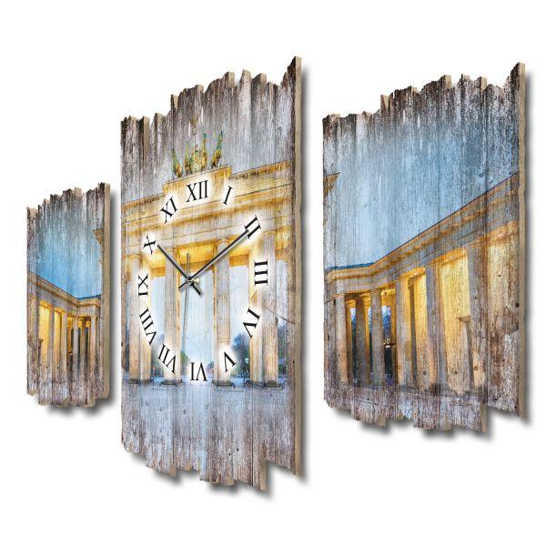 Brandenburger Tor Shabby chic Dreiteilige Wanduhr aus MDF mit leisem Funk- oder Quarzuhrwerk
