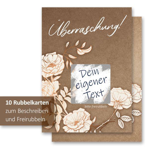 """""""Weiße Blüten"""" Rubbelkarten im 10er Set mit Umschlägen und Rubbelstickern"""
