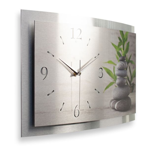 """3D Wanduhr """"Relax"""" aus gebürstetem Aluminium mit leisem Funk- oder Quarzuhrwerk"""